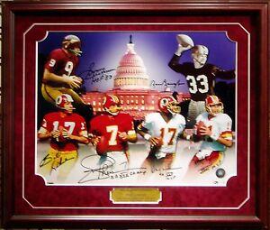 Washington Redskins 6 Quarterback Signed 16x20 Framed Baugh Jurgensen & 4 More