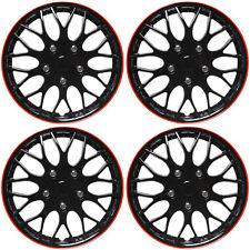 4 Pc Set Of 16 Ice Black Red Trim Hub Caps Skin Rim Cover For Steel Wheel Cap Fits Mustang