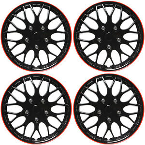 "4 Pc Set of 16"" ICE BLACK / RED TRIM Hub Caps Skin Rim Cover for Steel Wheel Cap"