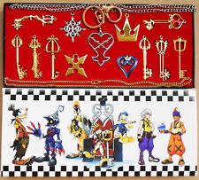 13pcs/ Kingdom Hearts II KEY BLADE Necklace Pendant+Keyblade+Keychain Gold New