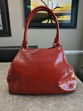 COLE HAAN CROC Embossed Patent Leather Tote Bag