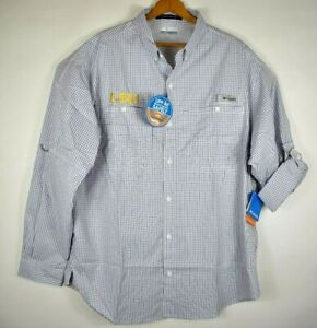 LSU Tigers Men Purple Plaid Super Tamiami Columbia PFG Fishing Shirt XL NWT $80