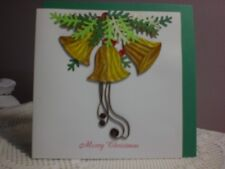 Quilling Cards LLC - 3D Three Gold Christmas Bells Note Card