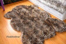 Faux Fur Throw 3' x 5' Rug Sheep Wolf Fox Faux Fur Area Rug Mountain Coyote Fur