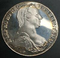 1780 Restrike Thaler Maria Theresa Austria SILVER TONED PROOF CAMEO RESTRIKE