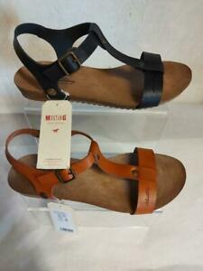 Women's Mustang 803-301 T-Bar Sandals Low Wedge Buckle Summer Strappy Black Tan