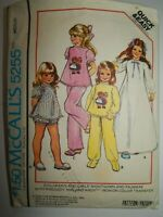 Nightgown Pajamas McCalls 5255 Sewing Pattern Size M Childs Cut Complete Sleep
