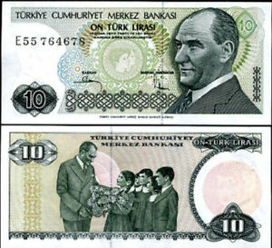 TURKEY 10 LIRA 1970 P 192 UNC