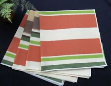 Set 4 Bardwil Waterproof Stripe Table Napkins Brown Green Earthy Tones 18""