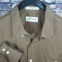 ORVIS Mens Brown Tattershall Check L/S Button-Down Shirt XL Cotton