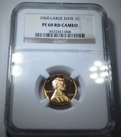 NGC PF PR 69 RD CAMEO LARGE DATE 1960 US Lincoln Memorial Cent Penny Rare Coin