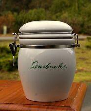 Starbucks Coffee Company White Green Script Logo Canister Cookie Jar