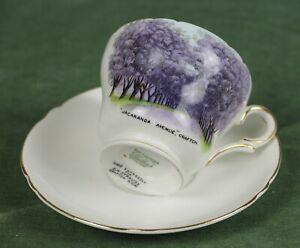 Vintage Shelley China Porcelain Souvenir Tea Cup & Saucer Jacaranda Ave Grafton