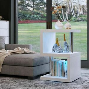 Modern High Gloss White Coffee Side Table Home Furniture Free LED Light Small UK