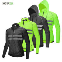 Cycling Reflective Hooded Jacket MTB Bike Jersey Sports Riding Hoodie Wind Coat
