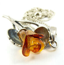 """Vintage Ster. Silver & Hand Carved AMBER ROSE Pendant 18"""" Silver CHAIN Necklace"""