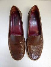 Salvatore Ferragamo 10 B Brown Reptile Leather Driving Loafers Italy