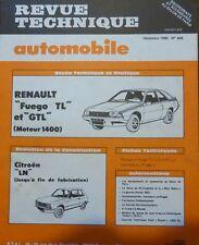 Neuve de stock ! Revue technique RENAULT FUEGO TL GTL moteur 1400 RTA 406 1980