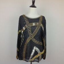 Vintage Swee Lo Beaded Top Womens Small Sequined Boho Art to Wear Silk