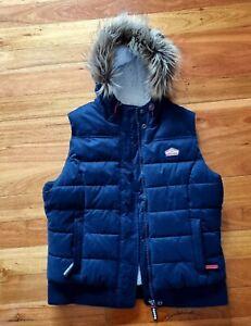 Ladies Superdry Puffer Vest Navy Blue fur lining