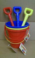 Set Of 3 Primary Coloured Spades & Round Buckets Ideal Sandpit/Beach Toys