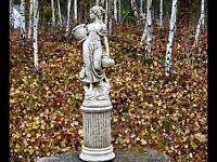 AMAZING BASKET LADY Large Statue Stone Cast Handmade Garden Ornament