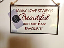 Glass Wall Plaque Hanging Sign Home Decor Gift - Love Quote