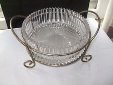 CRYSTAL? SERVING BOWL W/ STERLING SILVER PLATE? METAL STAND