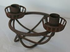 Vintage Minimal Metal Candle Holder with Rust 80s Look Geometric Circular