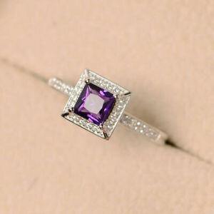 1ct Halo Style 14K White Gold Plated Princess Cut Amethyst Gemstone Diamond Ring