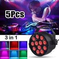 5X 12LED RGBW PAR Lichteffekte Bühnenlicht DMX512 Disco Beleuchtung DJ Bar HD