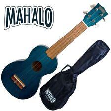 MAHALO Wooden Soprano Ukulele Transparent Blue & Bag Kahiko Series MK1TBU