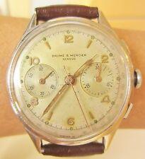 Outstanding 1940/50's SS Baume Mercier Valjoux 92 Chrono Watch Serviced Warranty
