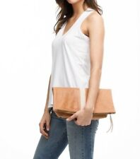 ABLE Local + Global Foldover Emnet Clutch Pink/Tan Leather Bag