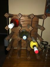 Mid century Wood And Brass Wine Rack