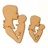 Mother and baby MDF Craft shape, Mummy and newborn baby, Woman and child gift