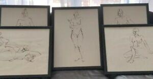 Original John Tuska Ink Female Nude Figures Study Art Drawings Kentucky Lot Of 5