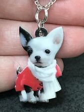 """Dog Chihuahua White Enamel Double-sided Tibetan Silver 18"""" Necklace D-1494"""