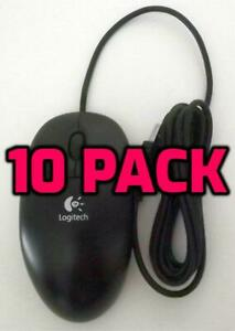 NEW LOT OF 10 Logitech USB Optical Mouse BLACK Wired Scroll Wheel PC MAC