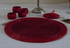 Set of 4 Round Glass Beaded Red Placemats Table Place Mats Coasters Napkin Rings