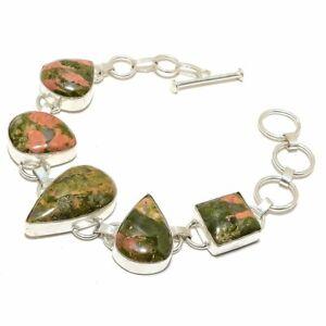 "Unakite Gemstone Handmade Ethnic Silver Jewelry Bracelet 7-8"" RB1331"