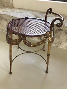 Italian Hollywood Regency Gold  Tole Vanity Bench Stool