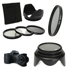 58mm UV CPL ND4 Circular Polarizing Filter Kit + Lens Hood For Canon Camera Dslr