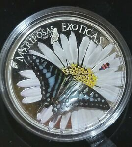2015 Equatorial Guinea Silver Butterfly Graphium Polycenes Mariposas Exoticas