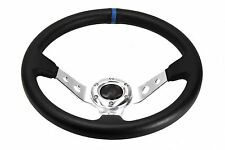 13.5 Steering Wheel For Polaris RZR Can-Am Maverick Deep Dish Silver Blue Stitch