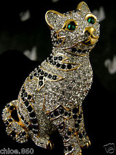 Signed Swarovski Pave' Crystal Cat Pin ~Brooch New Rare Retired
