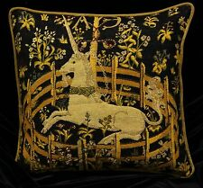 """Piped TAPESTRY SCATTER CUSHION Cover CAPTIVE UNICORN  42cm 17"""" Medieval Design"""
