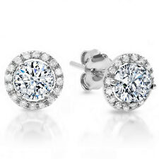 Genuine 1.00 Ct.Round Cut Halo Diamond Stud Earrings H, VS2 14k White Gold