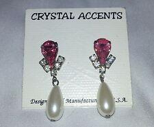 New Crystal Accents Pink Clear Rhinestone Faux Pearl Drop Dangle Earrings Pierce