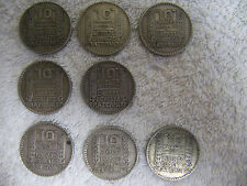8 pieces argent 10F turin (1929-1930-1931-1933-1934)